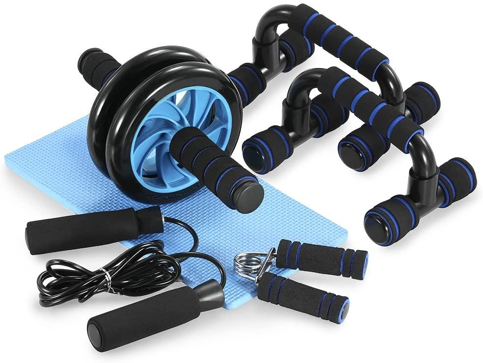 Rueda abdominal, barras para flexiones y cuerda para saltar